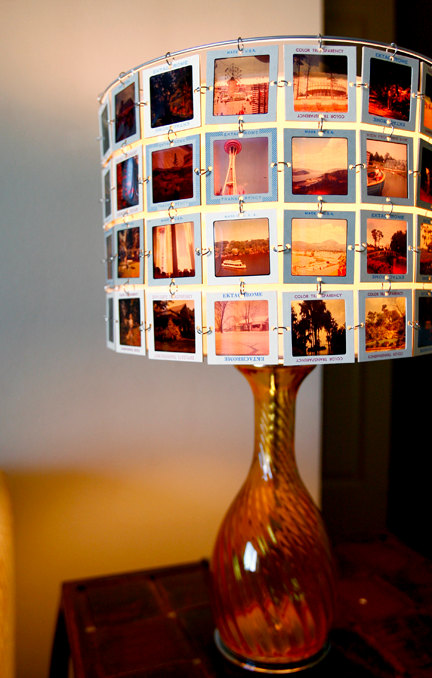 Lampenschirm aus digitalisierten Dias